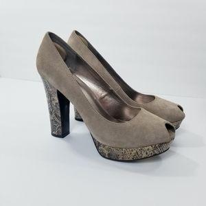 Fergie Taupe Sued Snake Skin Block Platform Heel